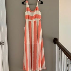 Charming Charlie Coral & White Maxi Dress Size M!!